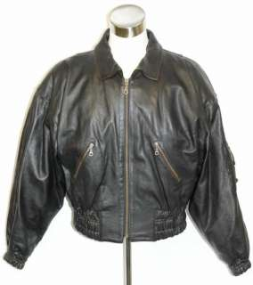 BLACK Men Heavy LEATHER Biker Motorcycle JACKET 44 46 L