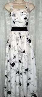 Vtg 60s Maxi Dress S Hippie BOHO White Sheer Black Flowers Long