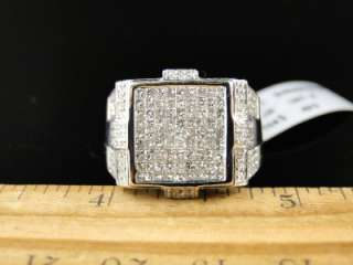 MENS WHITE GOLD PRINCESS CUT DIAMOND SQUARE PINKY FASHION RING 1.79 CT