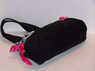 METAL MULISHA LARGE TOTE SHOULDER HANDBAG PURSE BLACK WHITE PINK BOW