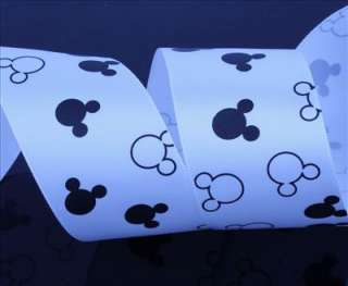 5Y 1 WHOLESALE Polyester satin RIBBON WHITE MINNIE MOUSE & mickey