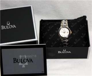 Bulova Silver with Gold Accents Calendar Ladies Bracelet Watch 98M001