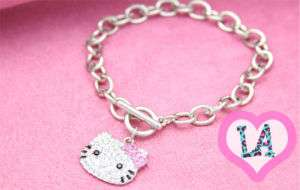 SILVER CRYSTAL HELLO KITTY PINK LINK TOGGLE BRACELET