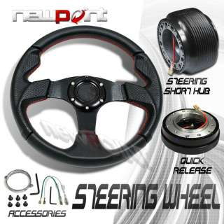 BLACK/RED STEERING WHEEL+HUB ADAPTOR+QUICK RELEASE KIT
