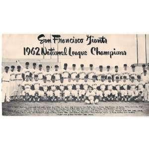 San Francisco Giants 1962 National League Champions