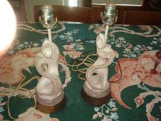 Vintage Pair Art Deco Light Lamp Figurine Statue