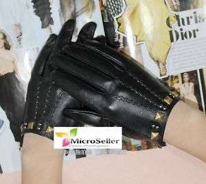 Ladies Square Rivets Spine Sheep Leather Fashion Gloves