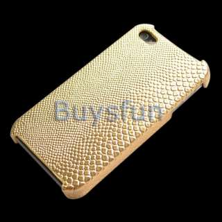 Gold Crocodile style Hard Cover Case Skin for Apple iPhone 4 4G 4S