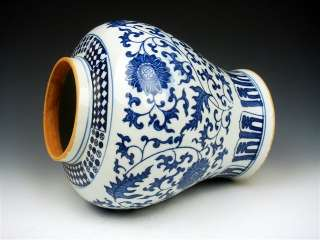 Ship From U.S* Blue&White Flowers Painted Large Porcelain Ginger Jar