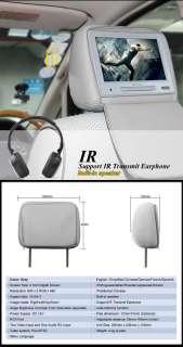 L0218 Eonon 9 Digital LCD Car Grey Headrest Monitor Pillow Leather IR