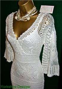 New MONSOON Ivory CLAUDIA CROCHET Knit Maxi DRESS S M L
