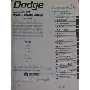 Dodge Passenger Car 1971 Chassis Service Manual Monaco
