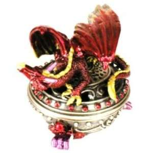 New   3.5 Tall Red Pewter Dragon Trinket Box Case Pack 6