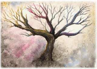 Watercolor Tree Landscape Painting ACEO, COLORFUL SPRING nature artist