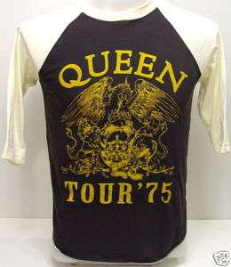QUEEN 1975 Concert Tour VTG Rock 3/4 Jersey T Shirt L