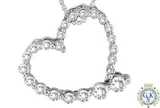 AMAZING 14K WHITE GOLD DIAMOND HEART SHAPE PENDANT NEW
