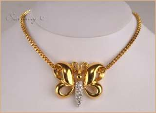 NOLAN MILLER GOLD/CRYSTAL BUTTERFLY PENDANT/NECKLACE