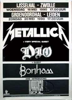 METALLICA DIO 1990 EUROPE TOUR CONCERT POSTER w/ BONHAM