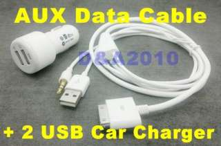 USB Car Charger 3.5mm AUX Audio Cable iPod iPhone ipad