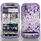 Purple Silver Crystal Diamond BLING Hard Case Phone Cover for Motorola