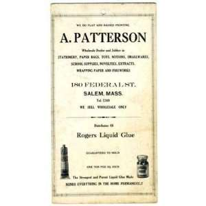 A Patterson Products Line Card Salem MA 1930s