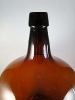 Antique Amber Glass Whiskey Carboy Bottle Applied Top 1800s Vintage