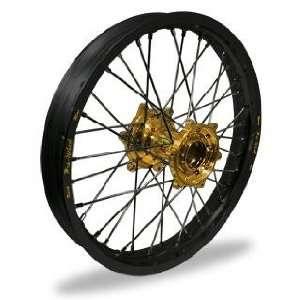 Pro Wheel Supermoto Rear Wheel Set   17x5.00   Black Rim/Gold Hub 27