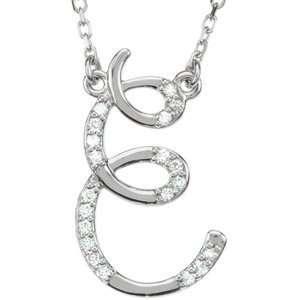 Sterling Silver Alphabet Initial Letter E Diamond Pendant Necklace 17