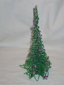 Christmas Green Pink Metal Foil Tree 10 1940s 1950s T10