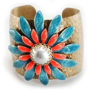 Sweet Romance Adjustable Double Daisy Coral/Turquoise Cuff