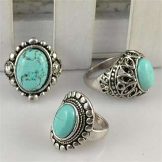 50pcs Vintage Silver Plated Turquoise Stone Costume Rings R194
