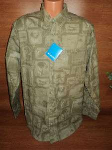 Mens Columbia Duck Hunting Dog Print Shirt Sz L Lg !!