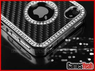 Fiber Bling Diamond Chrome Hard Case Cover F iPhone 4 4G 4S