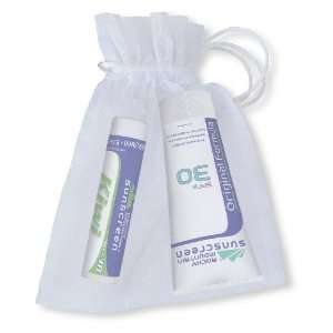 Rocky Mountain White Organza Gift Bag with 1 Lip Balm Kiwi