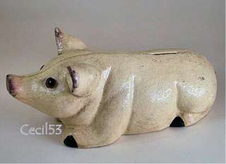 PIG WITH GLASS EYES CAST IRON PIGGY PIG BANK