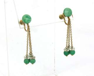 ANTIQUE 10K GOLD, JADE & CRYSTAL LADIES DANGLE EARRINGS