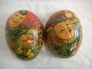 ANTIQUE VICTORIAN GERMAN PAPER MACHE EASTER EGG CANDY CONTAINER HUMPTY