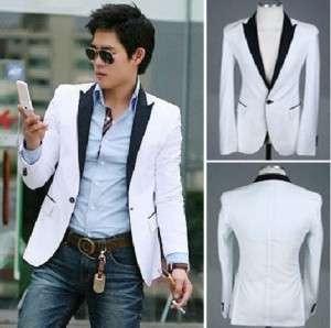 Mens Slim fit Sexy Blazer Short Coat Jacket White