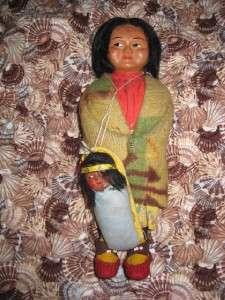 VINTAGE AMERICAN INDIAN SKOOKUMS DOLL MOM & BABY