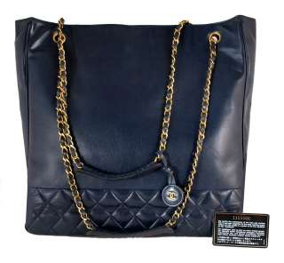 AUTHENTIC CHANEL Dark Navy Blue Quilted Lambskin JUMBO XL Shopper Tote
