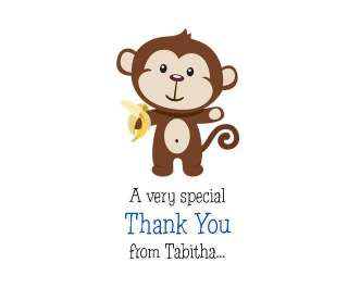 24 Sweet Little Monkey Baby Shower Thank You Cards