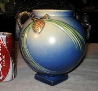 ANTIQUE ROSEVILLE COLBALT BLUE PINECONE ART POTTERY VASE PINE CONE