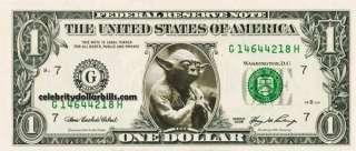 WARS Yoda B CELEBRITY DOLLAR BILL UNCIRCULATED MINT US CURRENCY