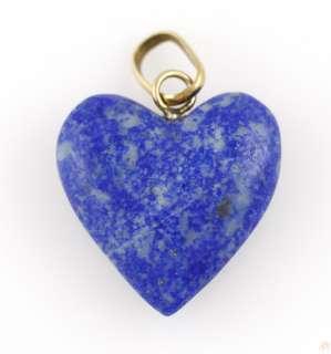 14k Gold Lapis Heart Stone Pendant Necklace