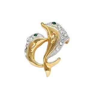 Fancy Gold Tone and Clear Crystal Dolphin Brooch Pin Elegant Trendy