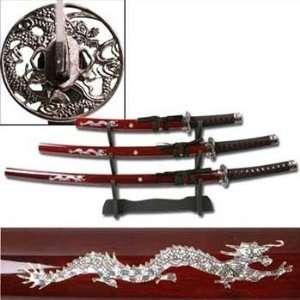 Burgundy Dragon Samurai Sword Set