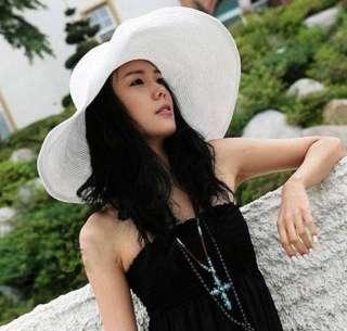 Wide Large Brim Summer Beach Sun Straw Wire Derby Hat