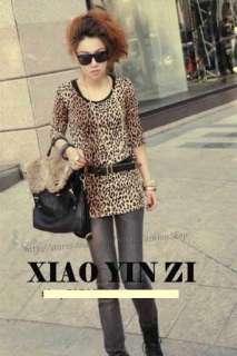 2011 Korean Fashion Womens Trendy Leopard Pullover Cotton T Shirt Tops