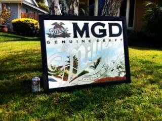 Miller Genuine Draft MGD BIG Beer Bar Mirror Sign NEW