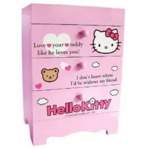Sanrio Hello Kitty Mini 3 drawer Desk Box Chest Organizer Wood